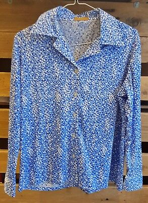 Vintage Womens 1980s Blue Retro Spotted Shirt -SIZE 16-*Blouse Made in Japan*