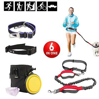 Dog Leash Set Adjustable Dog Collar Seat Belt Collapsible Bowl Training Pouch