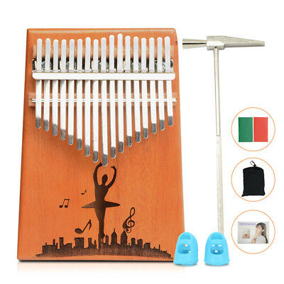 17 Key Kalimba Thumb Piano Finger Mbira Mahogany Single Keyboard Wood Instrument
