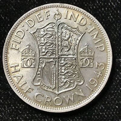 1943 1/2 CROWN - GREAT BRITAIN *GREAT OLD BRITISH SILVER - GEORGE VI - Lot#A685