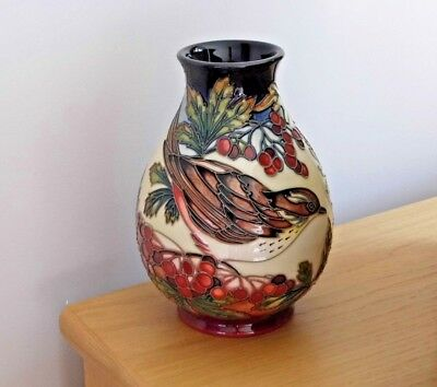 "Moorcroft Rare And Desirable Trial 7"" Vase In The Inglewood Design Trush And Jay"