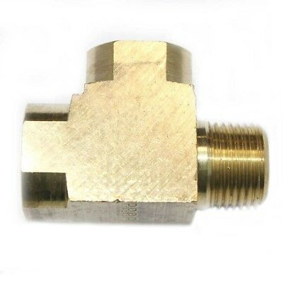 """Solid Brass Street Pipe Tee Fitting 3/8"""" NPT thread male female air fuel FST66RT"""