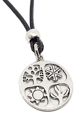 Four Seasons Pendant Wheel of the Year Pagan Wiccan Beaded Corded Lace Necklace