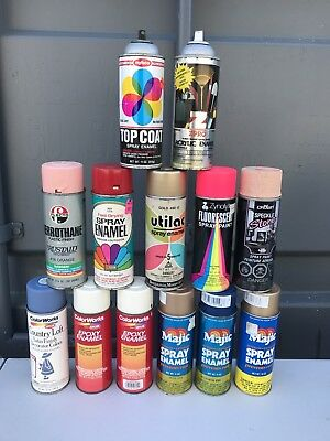 Vintage lot of 13 Spray Paint Cans Graffiti Paint Can Lot.-MUST SEE-