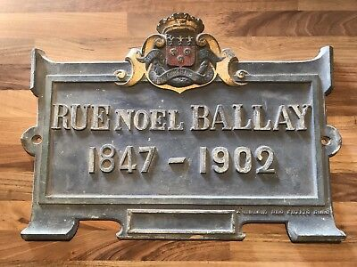Old Genuine FRENCH STREET SIGN-Rue Noel Ballay-Chartres-Explorer-Cast Metal