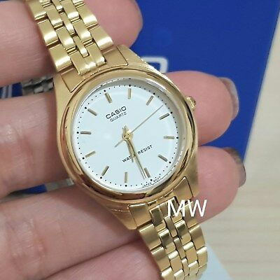 New Casio Ladies Dress Analog Gold Tone Stainless Steel Watch LTP-1129N-7A