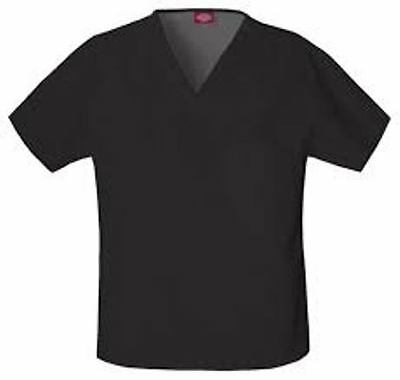 {XS} Unisex Dickies Medical Scrub Top EDS V-neck Top BLACK One Chest Pkt 810106
