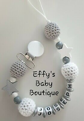 8MM Letters🖤CROCHET⭐Personalised Wooden Dummy Clip🖤Grey⭐White🖤Star⭐Unisex