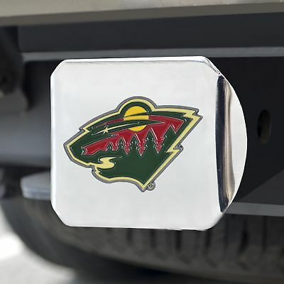 Minnesota Wild Color Emblem on Chrome Hitch Cover