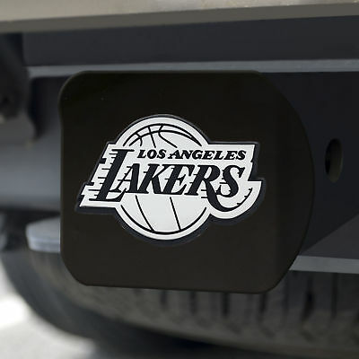 Los Angeles Lakers Chrome Emblem on Black Hitch Cover