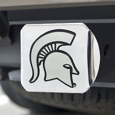 Michigan State University Chrome Emblem on Chrome Hitch Cover