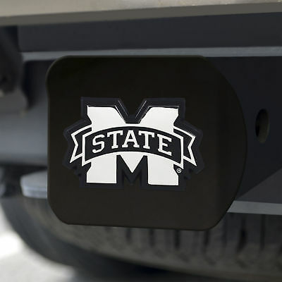Mississippi State University Chrome Emblem on Black Hitch Cover