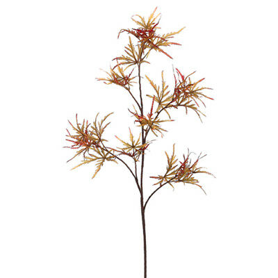 "48"" Silk Japanese Maple Leaf Stem -Olive Green/Rust (pack of 6)"