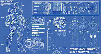 Iron Man Stark Industries Mark 6 Prototype Blueprint | Sizes A4 to A0 UK Seller