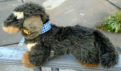 "1986 Steiff Large Gray & Brown Woven Fur ""Raudi Dachsund"" Dog-18"" Long-Mint!"