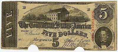 1863 Confederate States of America $5 Five Dollar Bill Civil War Currency Note