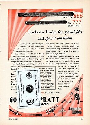 Goodell-Pratt Co. Greenfield, MA - Wade Precision Lathes - 1927 Advertisement