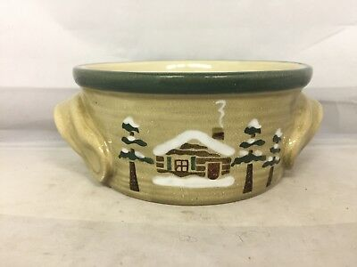 "Sonoma Lodge Soup/cereal  Bowl w/handles 5 1/2"" Log Cabin Pine Trees"