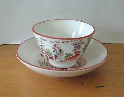 Antique 19th Century Pearlware Children`s Cup & Saucer - John Kate Lucy