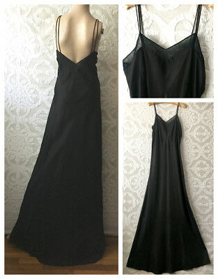 "VTG 1930s-40s Long Black Bias Cut Slip Under Dress | Low Back | 32"" W 