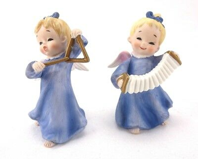 "Two Vintage Lefton Musician Angels KW1930 Japan 4"" Tall"