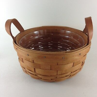 "LONGABERGER BUTTON BASKET Round 6.5"" Leather Handles Plastic Liner Vintage 1990"