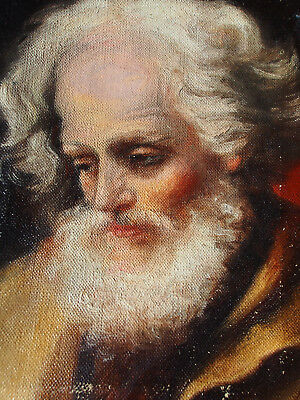 "Antique 19th c. After Guido Reni St Joseph c.1635 Hand Painting on Canvas 10"" x8"