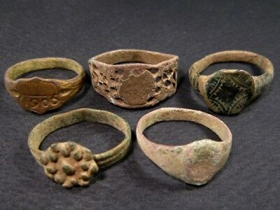 LOT of 5 pcs. ANCIENT ROMAN, BYZANTINE AND MEDIEVAL FINGER RINGS!!!