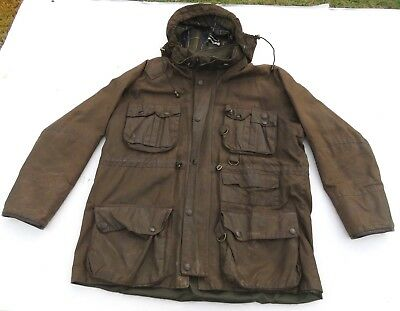 Mens BARBOUR Breathables Brown Oil Wax Hooded Zip Jacket Coat England 2XL XXL