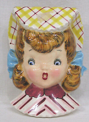 Vintage Lefton Dainty Miss Girlfriend Wall Pocket Porcelain  - No label