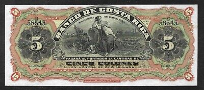 Costa Rica - 5 Colones Note  (1908)  S173r - Remainder - Uncirculated