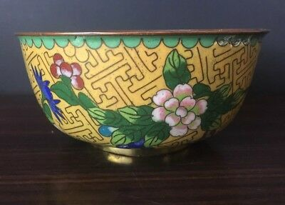 Antique Chinese Cloisonne Bowl Yellow Floral