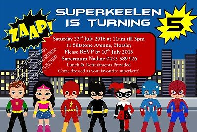 Superhero Birthday Party Costume Invite Invitation Personalised Free Magnet