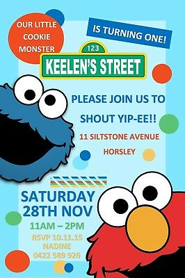 Cookie Monster Birthday Party Sesame Invite Invitation Personalised Free Magnet