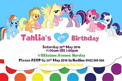 My Little Pony Birthday Party Invite Invitation Personalised Free Magnet