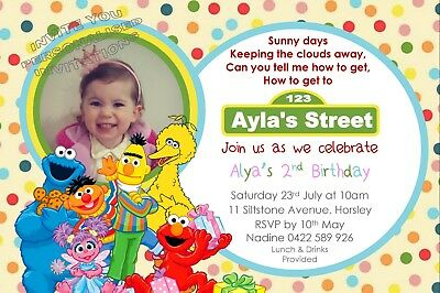 Sesame Street Birthday Party Invite Invitation Personalised Free Magnet