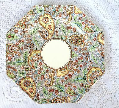 Paragon OLD MARK Octagon Plate - Gold Rim  Paisley Pattern (83)