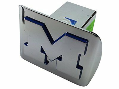 "University of Michigan ""M"" chrome with blue trim on chrome METAL Hitch Cover"