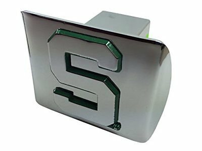 "Michigan State University ""S"" METAL emblem chrome with green trim on chrome"