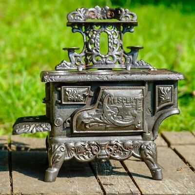 Antique Cast Iron Large Toy Stove Crescent Star