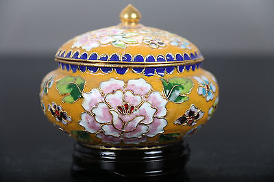 Exquisite Chinese Handwork painting flower Cloisonne storage tank E300