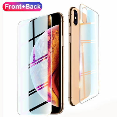 For iPhone 11 Pro X XS Max XR Front Back Tempered Glass Film Screen Real Cover