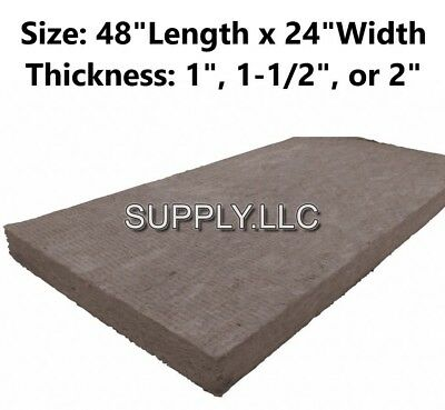 """Mineral Wool Sheets 48""""L x 24""""W High Temperature Insulation, Density 8#, Green"""