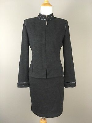 St John Collection By Marie Gray Santana Knit Skirt Suit Set Zip Blazer Gray