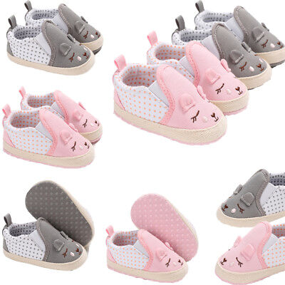 UK Newborn Baby Boy Girl Pre Walker Soft Sole Pram Shoes Trainers Size 0-18 M