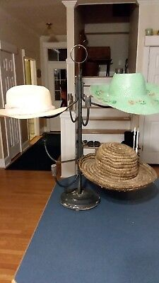 Vintage Table Top Metal & Wood Swivel Millinery 8 Hat Store Display Stand