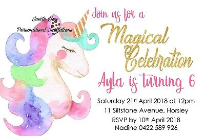 Unicorn Magical Birthday Party Invite Invitation Personalised Free Magnet