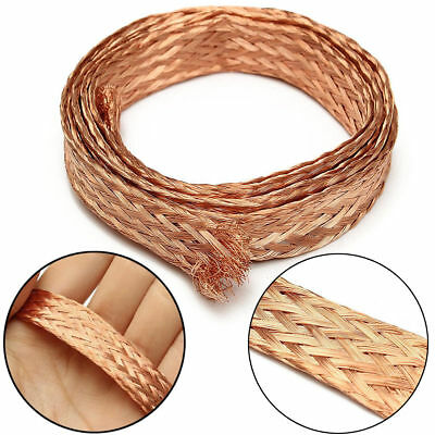1m/3.3 Ft 6/15mm Flat Pure Copper Braid Cable Bare Copper Braid Wire Ground Lead