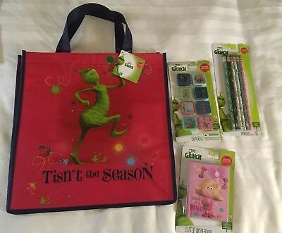 The Grinch Movie Stocking Stuffer Lot Pencils Eraser Tote Bag Book