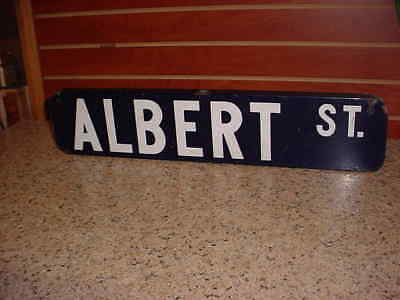 Vintage Porcelain Cobalt Blue Double Sided Street Sign ALBERT ST. Nice Condition